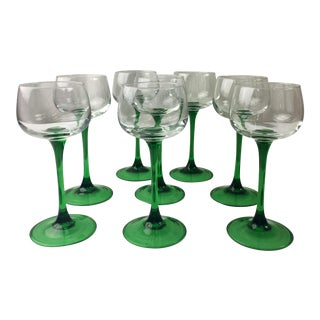 French Kelly Green Stemmed Glass Cordials- Set of 8