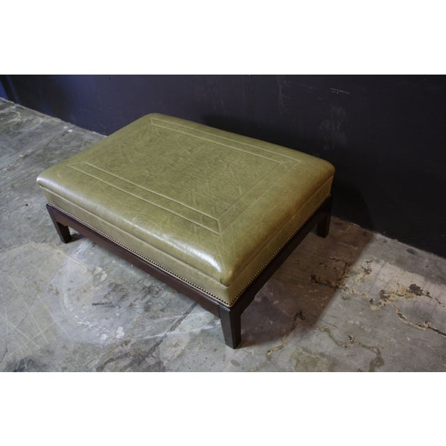 Image of Hickory Chair Leather Ottoman With Nailhead Trim