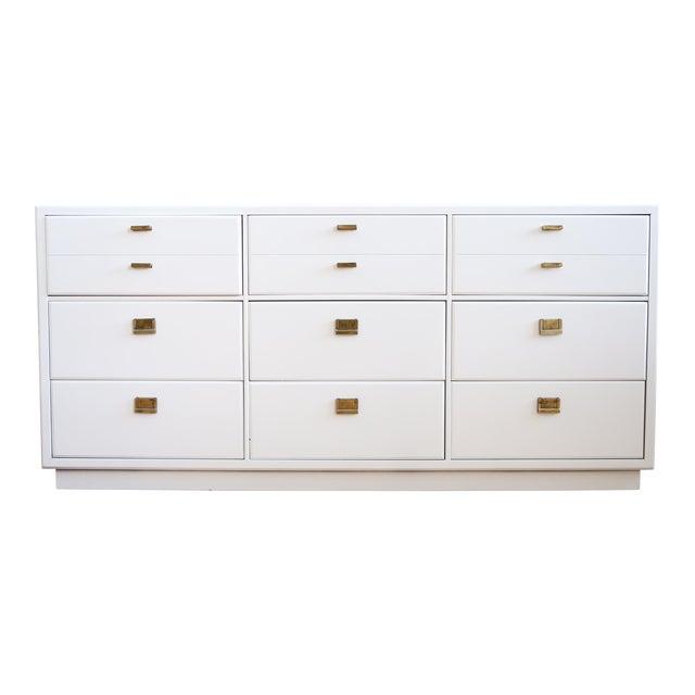 drexel mid century white lacquer campaign dresser chairish. Black Bedroom Furniture Sets. Home Design Ideas