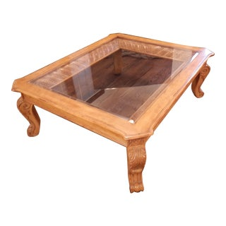 French Country Carved Wood and Glass Coffee Table