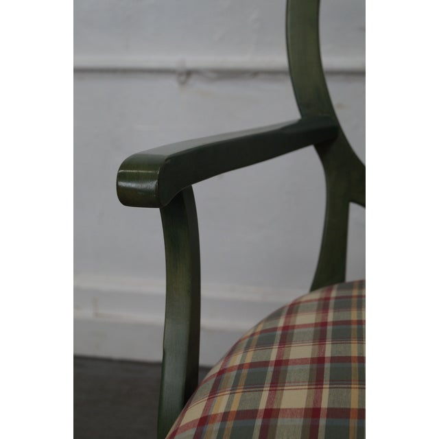 Ethan Allen Country Green Painted Arm Chair - Image 10 of 11