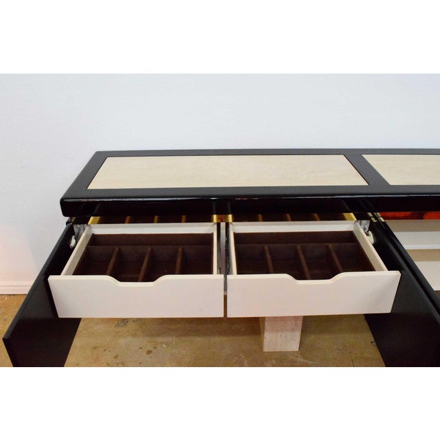 Very Large Custom Wall Hung Console in Black Lacquer and Travertine - Image 6 of 8