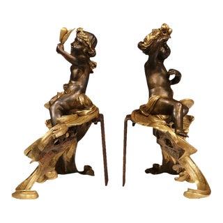 19th Century French Patinated Bronze Cherub Chenets - A Pair