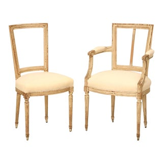 French Louis XVI Style Original Painted Chairs - Set of 6
