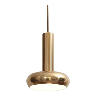 One of Five Danish Modern Brass Pendant Lamps with Authentic Patina