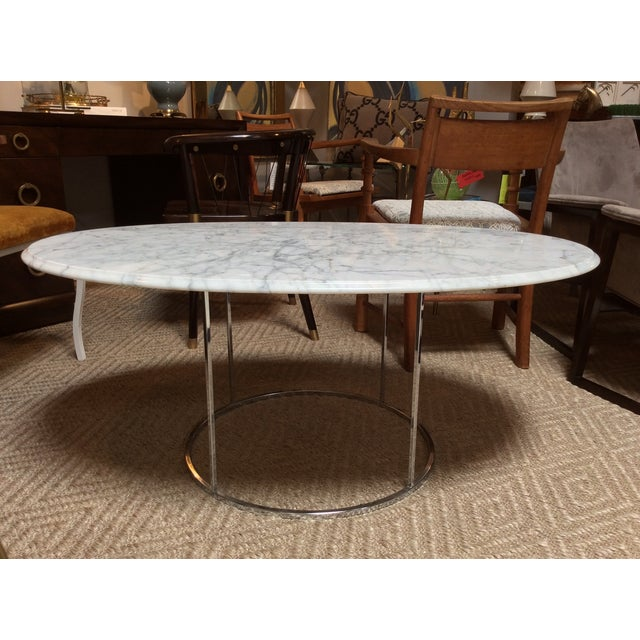 Carrera Marble Chrome Oval Cocktail Table Chairish