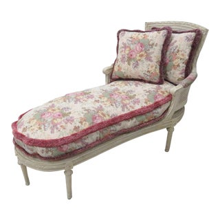 French Louis XVI Cream Caned Chaise Lounge