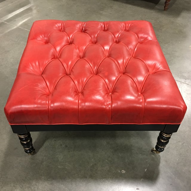 Red Leather Ottoman With Casters - Image 2 of 6