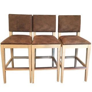 Kravet Brown Bar Stools - Set of 3