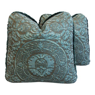 Designer Custom Italian Fortuny Orsini Feather/Down Pillows - a Pair