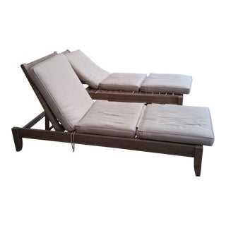 Restoration Hardware Teak Leagrave Collection Chaise Lounges - Pair