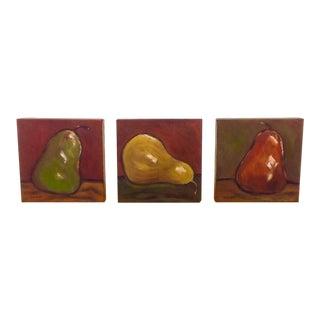 Three Pears Original Acrylic Paintings - S/3
