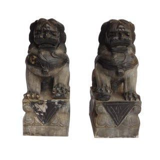 Chinese Stone Foo Dog Statues - A Pair
