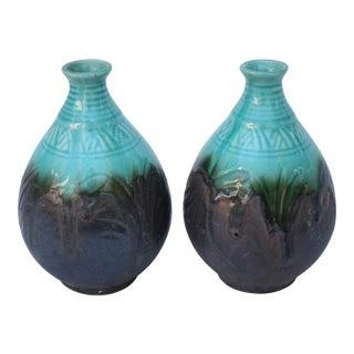 Turquoise Ceramic Vases - Pair