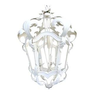 Vintage Venetian Style Iron 3-Light Hanging Lantern Chandelier
