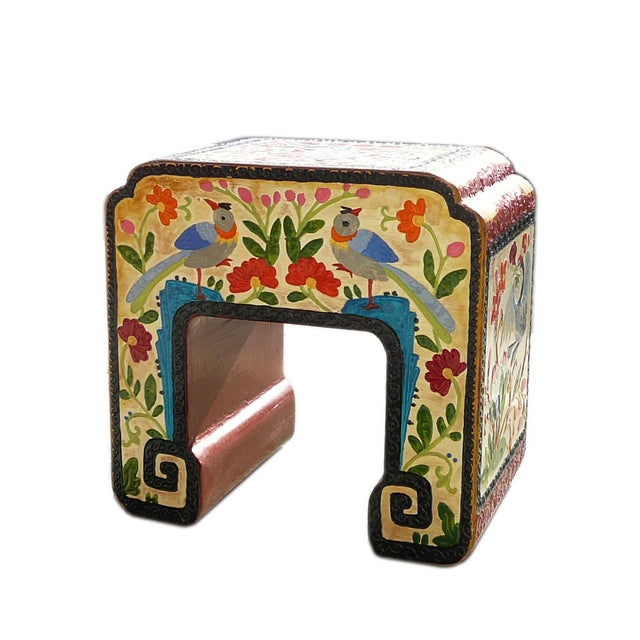 Chinese Off White Flower, Bird & Fish Stool - Image 6 of 6