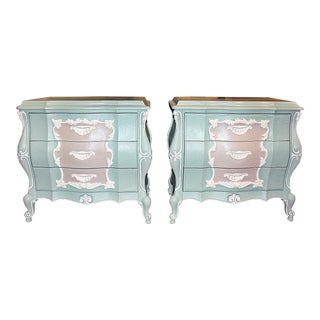 Rococo Bombe' Night Stands, Pair