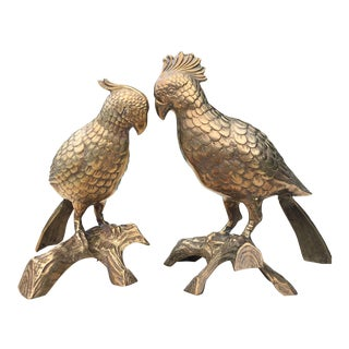 Mid-Century Life Size Solid Brass Parrots - A Pair
