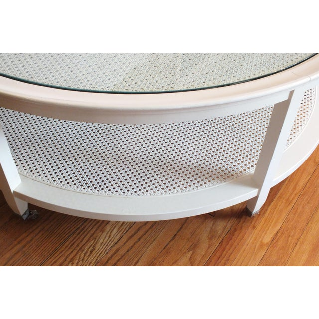 Mid-Century Round White Caned Coffee Table - Image 4 of 11
