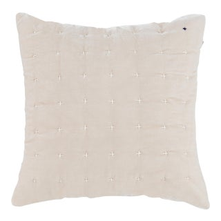 Cream Embroidered Silk Velvet Pillow