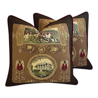"22"" Custom Tailored English Country Estate Hunt Feather/Down Pillows - Pair"