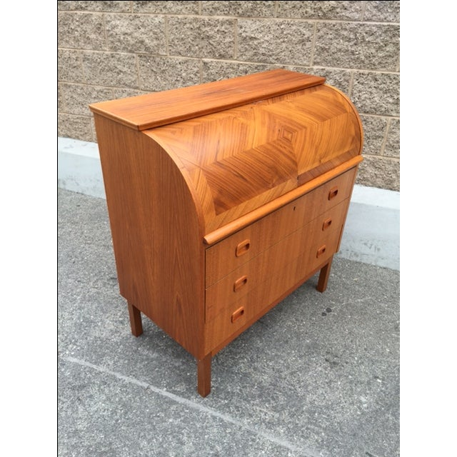 Image of Danish Mid-Century Roll Top Desk