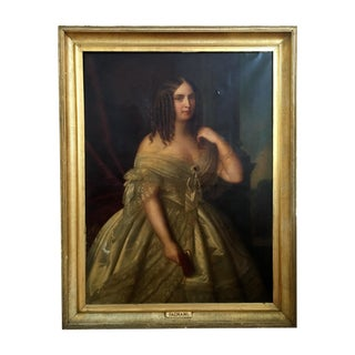 Antique Giuseppe Fagnani Oil Portrait Painting