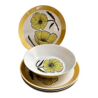 1960s Mikasa Duplex Yellow Poppies Dishes and Serving Bowl Designed by Ben Seibel - Set of 5