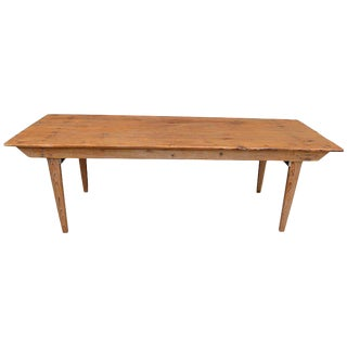 Early 1900s Ponderosa Pine Farm Dining Room Table with Folding Legs