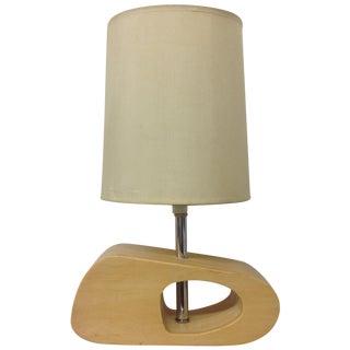 Biomorphic Chrome & Blond Wood Desk Lamp