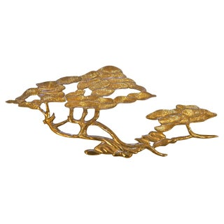 1960s Solid Brass Tree Wall Hanging