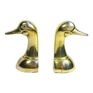 Leonard Silver Mfg. Mid-Century Solid Brass Duck Head Bookends - A Pair