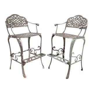 Cast Aluminum Patio Bar Stools - A Pair