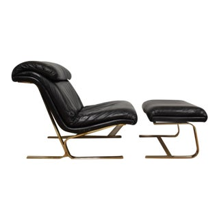 Chrome & Leather Lounge Chair and Ottoman - A Pair