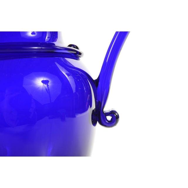 "Image of Cobalt Blue Antique 10"" Glass Pitcher"