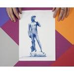 Image of Michelangelo's David Low-Poly Sculpture, Cyanotype Print on Watercolor Paper