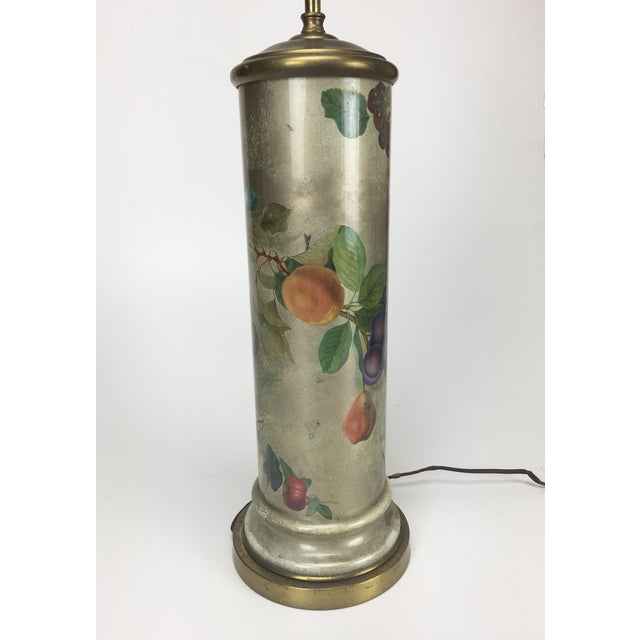 Mid-Century Decoupage Silvered Glass Table Lamp - Image 5 of 8