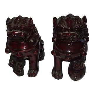 Chinese Cinnabar Foo Dogs - A Pair
