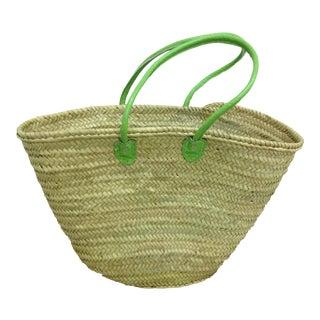 Market Basket With Green Straps
