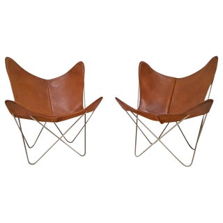 Early Pair of Knoll Hardoy Butterfly Sling Chairs