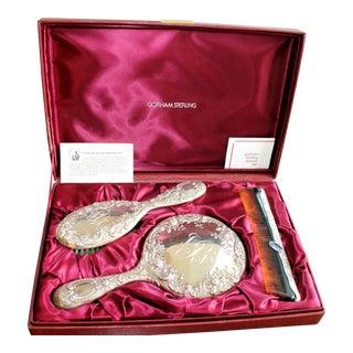 Vintage Gorham Sterling Silver Engraved Beauty Vanity Set - Set of 4