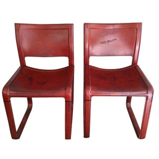 Distressed Matteo Grassi Red Stitched Leather Chairs
