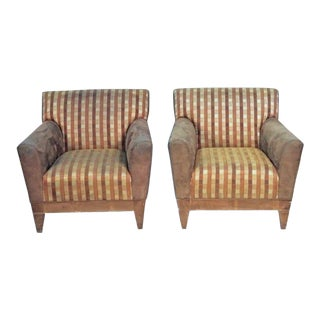 Modern Suede Upholstered Lounge Chairs - A Pair