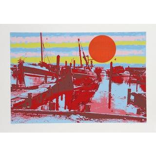 "Max Epstein, ""Freeport Fishing Boats,"" Serigraph"