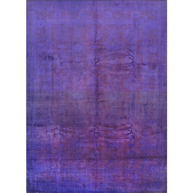Image of Overdyed Purple Wool Area Rug - 9′10″ × 13′6″
