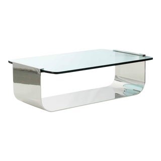 Modern Chromed Steel Cantilever Glass Cocktail Table