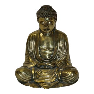 Mid-Century Gilt Painted Buddha Figure