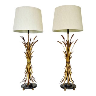 Antique Monumental Gold Leaf Wheat Sheaf Italian Table Lamps With Marble Bases A-Pair Millennial