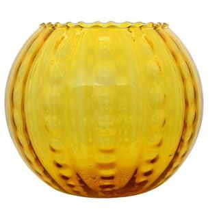 Optic Patterned Yellow Globe Vase