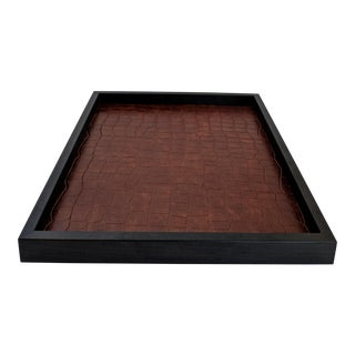Crocodile Lined Wooden Tray